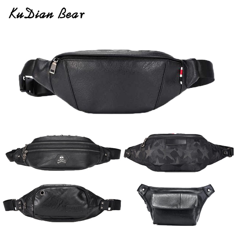 KUDIAN BEAR Fashion Men Waist Bag Black Male Belt Bag Wateproof Chest Handbags Pack Leather Purse Shoulder Bag BX01 PM49