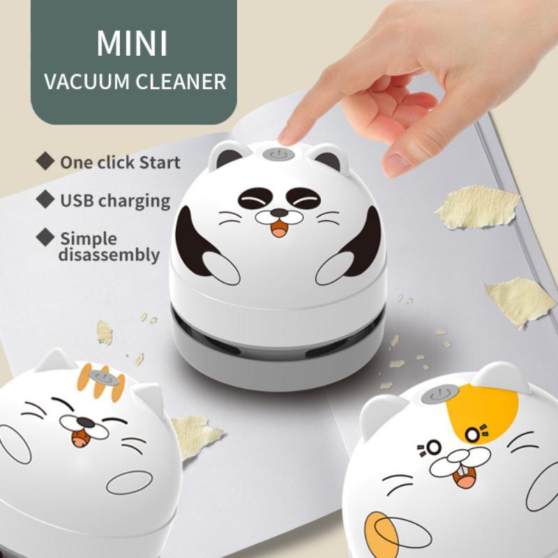 Портативный настольный мини-пылесос для чистки клавиатуры, ручной пылесос с милым котом для офиса, школы, дома с USB-зарядкой
