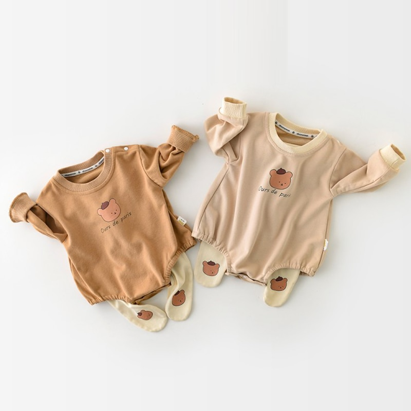 Baby Rompers Infant Clothing Newborn Girls Clothes Cartoon Bear Printed Bodysuits Boys Long Sleeve Jumpsuit Outfits cute newborn baby clothing long sleeve cotton solid baby rompers peter pan collar girls boys clothes jumpsuit infant costumes