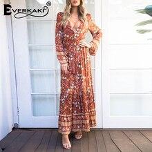 Everkaki Boho Floral Print Vintage Maxi Dress Women Deep V Neck Sexy Party Spring Elegant Ladies Long Dresses Female 2020 Summer