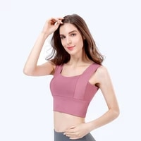 pink off shoulder tank crop top for women clothing summer sexy sports vest wide strap gym bralette sportswear fitness bra