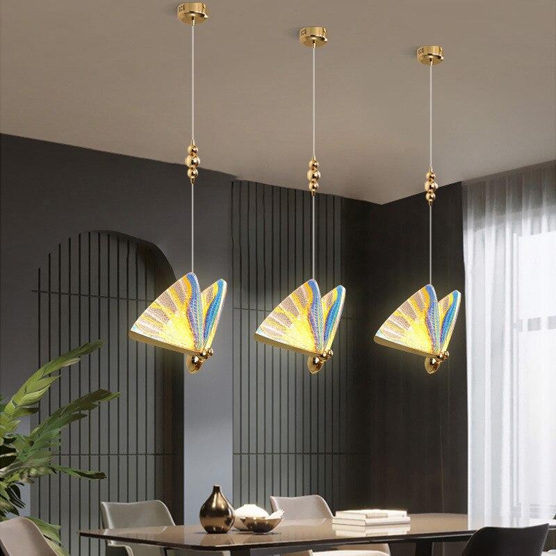 الحديثة قلادة LED مصباح زجاج المعيشة غرفة نوم تركيبات إضاءة ديكورية فراشة معلقة يتوهم بار جديد مصمم داخلي ضوء