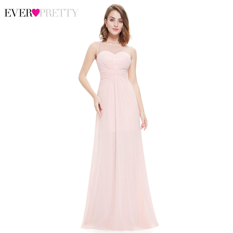 Elegant Bridesmaid Dresses Ever Pretty EP08761 A-Line O-Neck Sleeveless Ruched Chiffon Wedding Guest