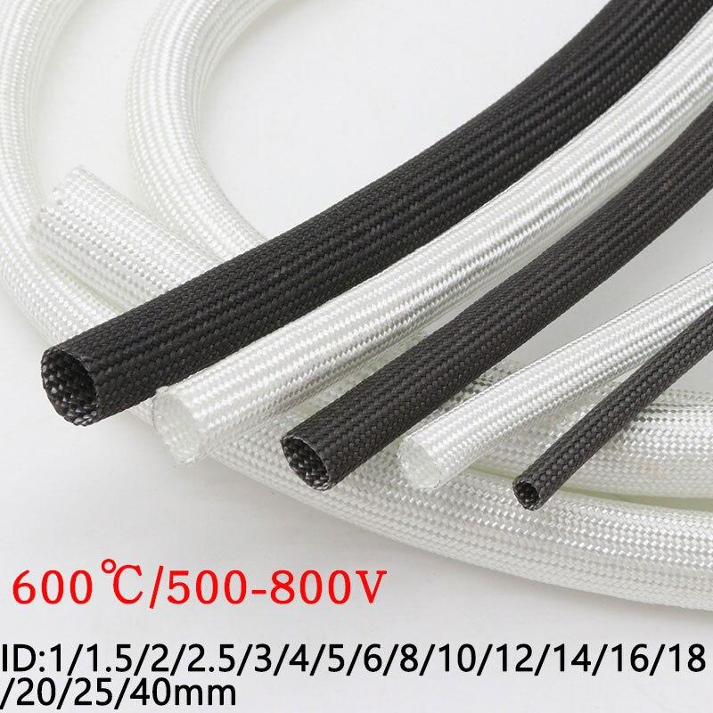 AliExpress - ID 1mm ~ 40 mm Braided Fiberglass Sleeve 600 Deg.C High Temperature Chemical Glass Fiber Tube Fiberglass Sleeving Black White