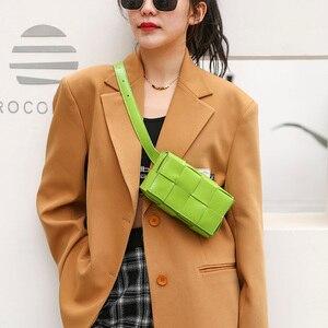 New Woven Leather Women's Shoulder Bag Fashion Messenger Small Square Bags Design Chest Bag Mobile Phone Pocket Money Bag purses