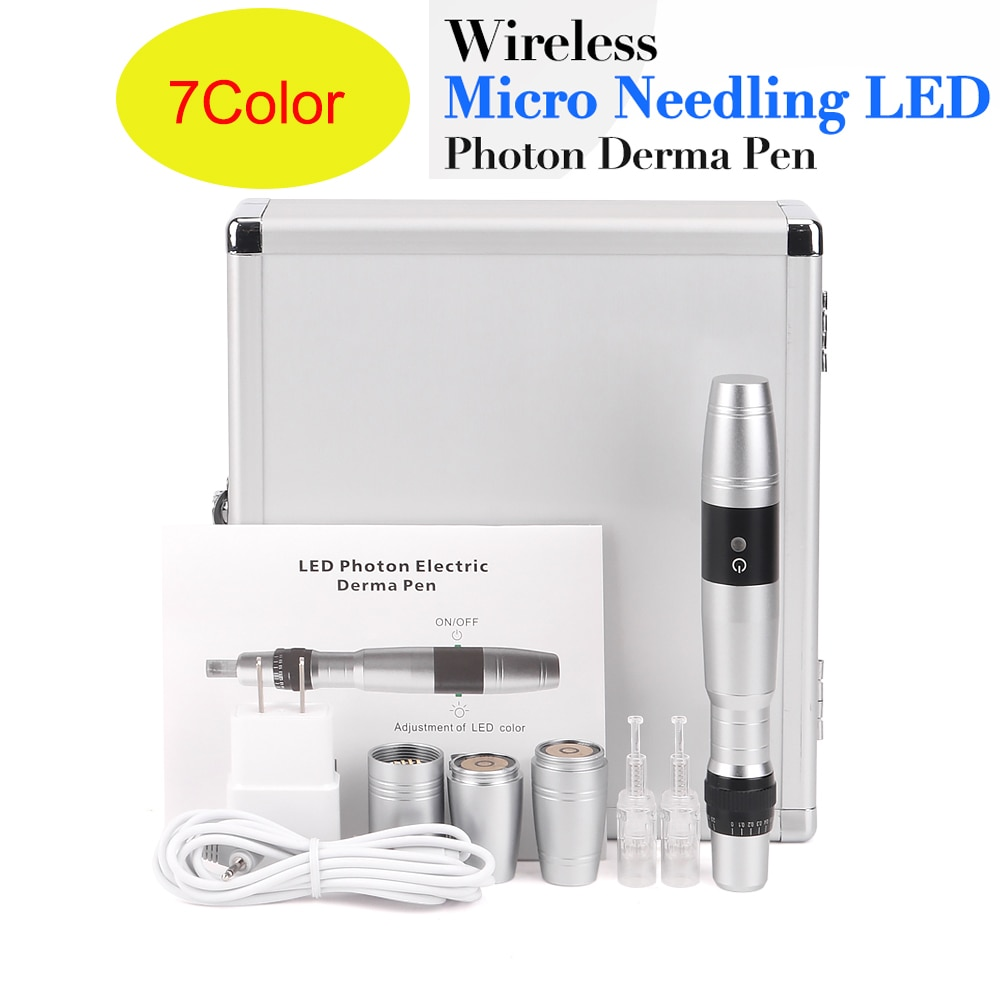 New 7 Color LED Wireless Derma pen  Electric Microneedle Derma Stamp Pen With Light Dr Pen Needle Cartridge Needle Skin Care Kit