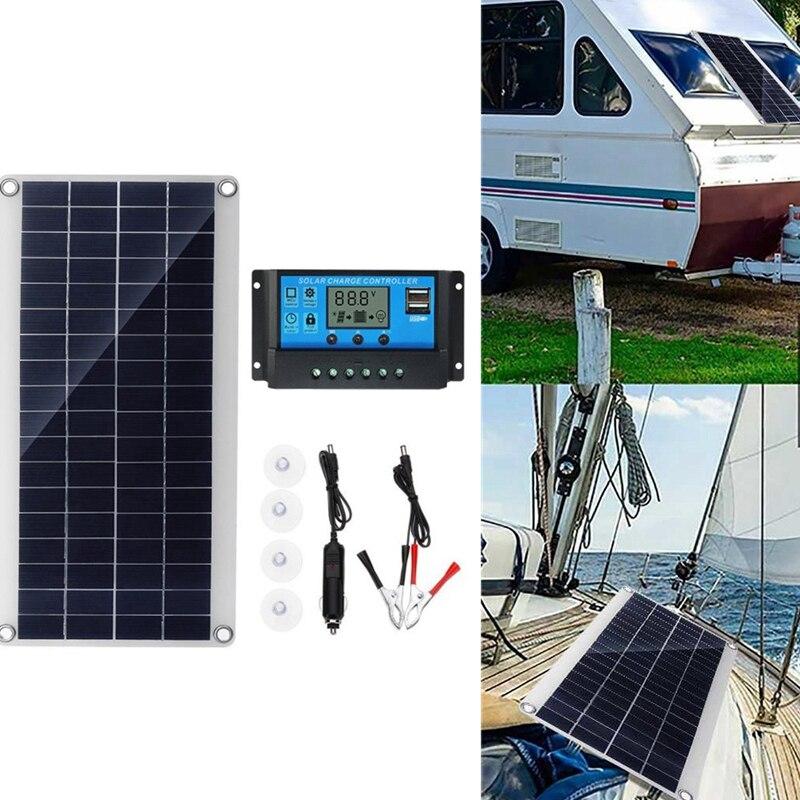 300 Вт Гибкая солнечная панель, солнечные батареи для автомобиля, RV, лодки, дома, крыши, фургона, кемпинга, солнечная батарея, модуль солнечног...