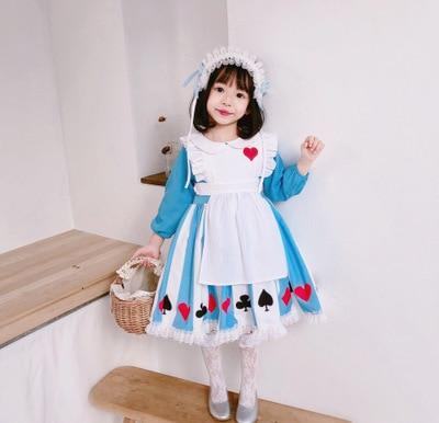 Explosion models Halloween new girls wind long sleeve two-piece Alice girls baby princess dress maid children dress