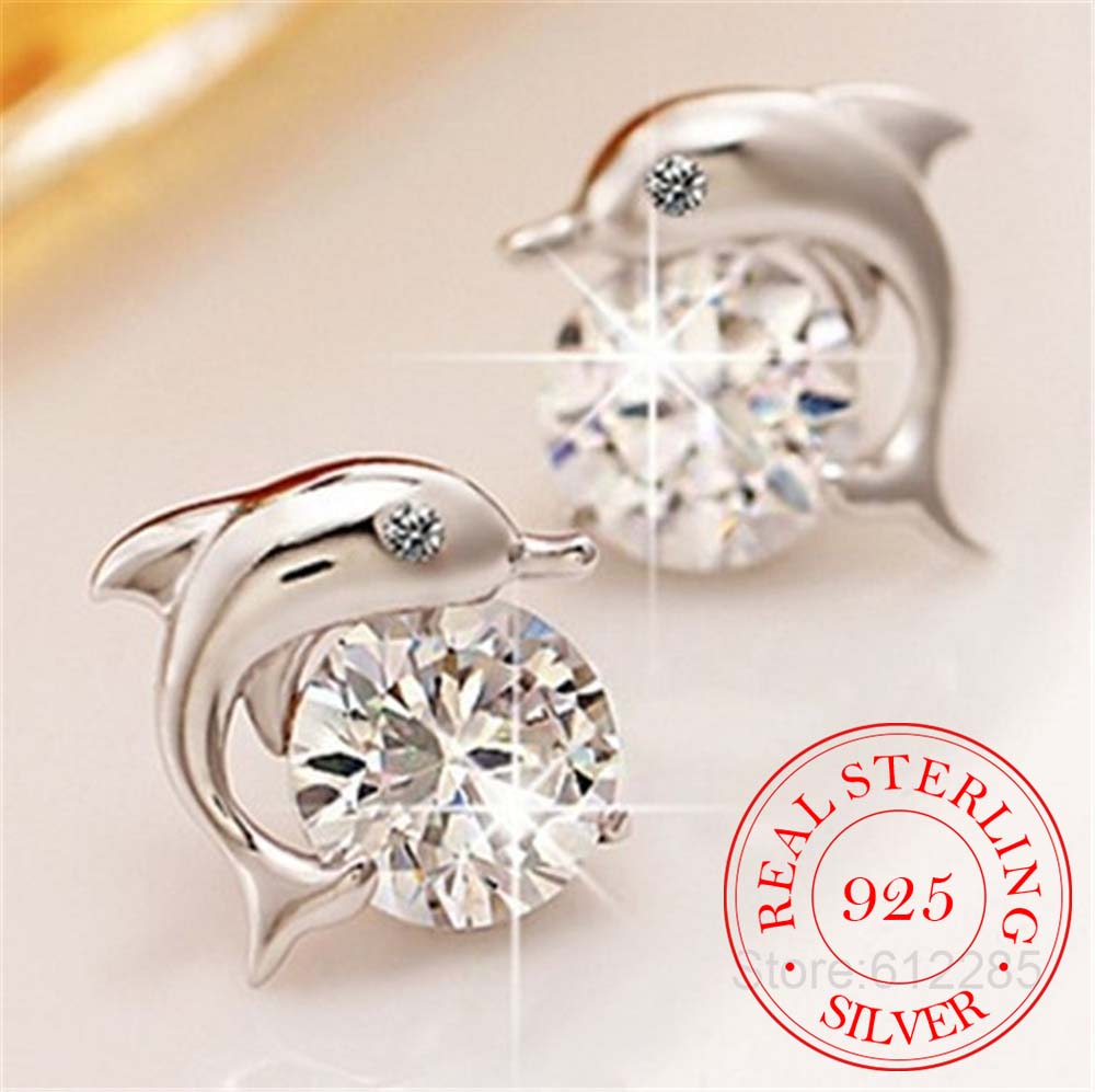 Cute Romantic Dolphin Love Stud Earrings For Women High Quality 925 Jewelry Stering Silver Round Cut