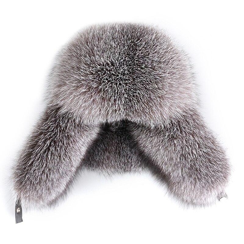 Piel de zorro de plata Natural piel de mapache hecho a mano hombres y mujeres pueden llevar gorra de piel de oveja gorra de esquí de invierno feng sombrero oreja