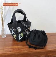 anokhogi ins cartoon print bucket style women shoulder bags tassels white letter pattern ladies handbags zx16