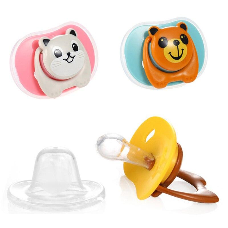 Силиконовая Милая соска, поддельная соска, Детская Соска с мультяшными животными, Детская Ортодонтическая Соска, Прорезыватель для зубов