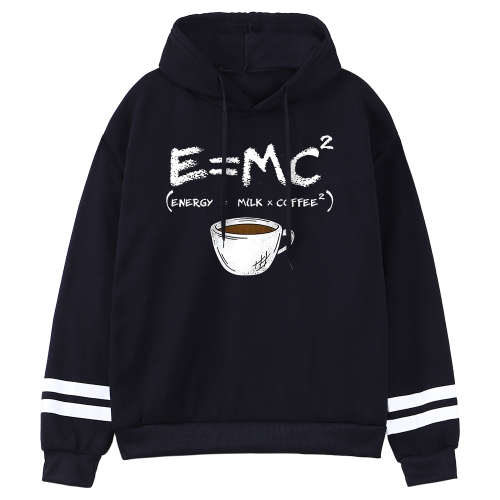 Женская кофта с капюшоном E = Mc Coffee, теплое флисовое Худи оверсайз в стиле Харадзюку