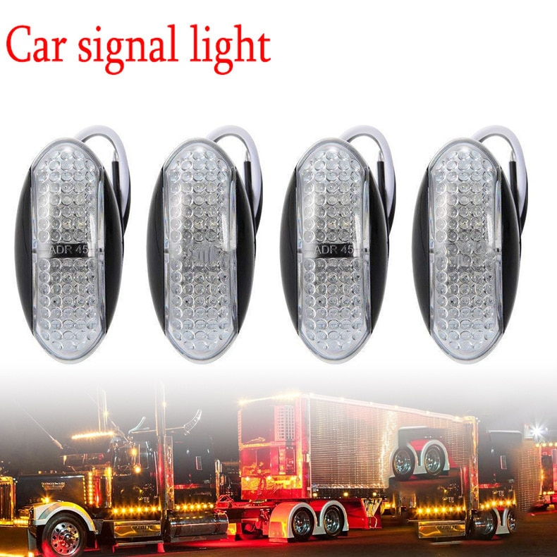 Factory Wholesale Applicable 10-30V Heavy-Duty Truck 4led Side Width Warning Light Stop Lamp Turn Signal