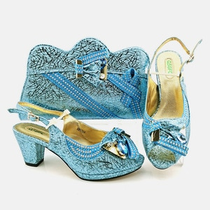 doershow  beautiful Shoes and Bag Set African Sets 2020 sky blue Color Italian Shoe Bag Set Decorated with Rhinestone!  SUY1-8