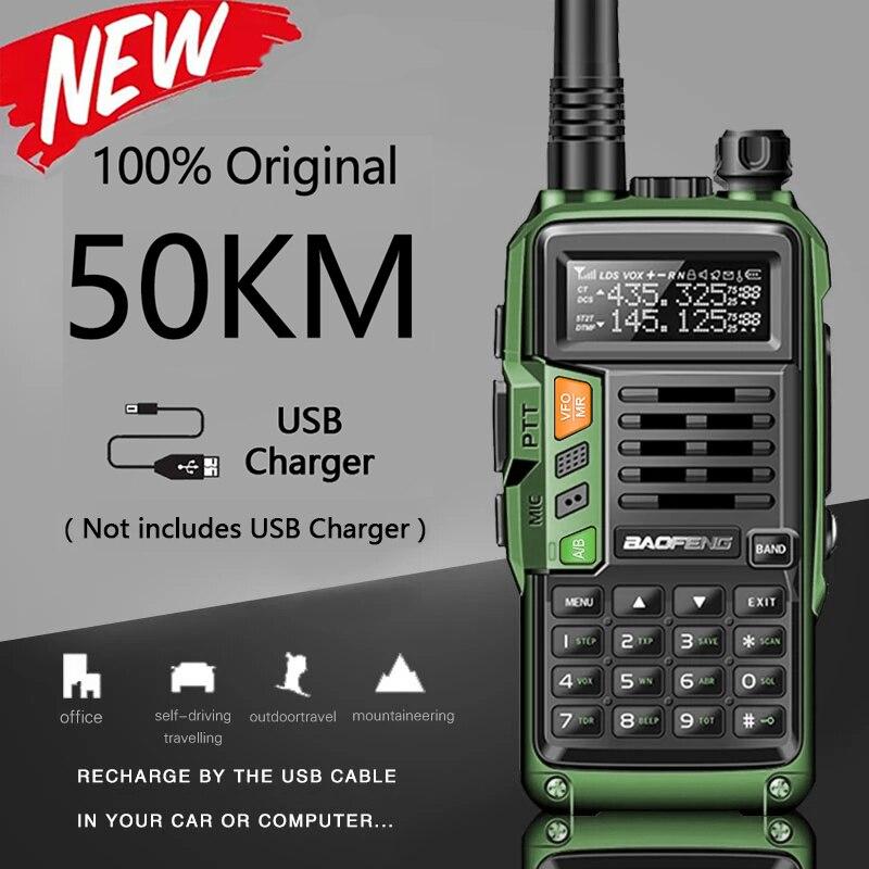 الأخضر BAOFENG UV-S9 زائد 10 واط قوية 50 كجم جهاز الإرسال والاستقبال المحمولة مع UHF VHF المزدوج الفرقة اسلكية تخاطب هام UV-5R اتجاهين الراديو