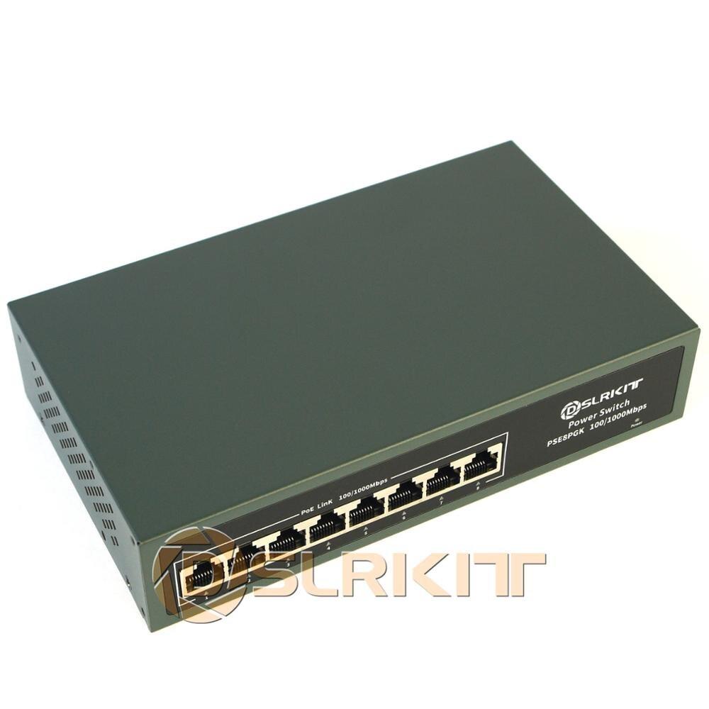 DSLRKIT todos los 8 puertos Gigabit PoE + Switch 802.3at af 120 vatios de potencia sobre Ethernet