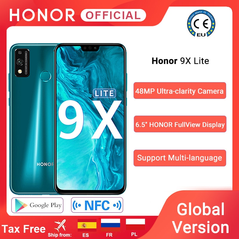 Global Version Honor 9X Lite Smartphone 4G 128G 48MP Camera Kirin 710 6.5'' Mobile Phone Android P GPU Turbo 3.0 NFC