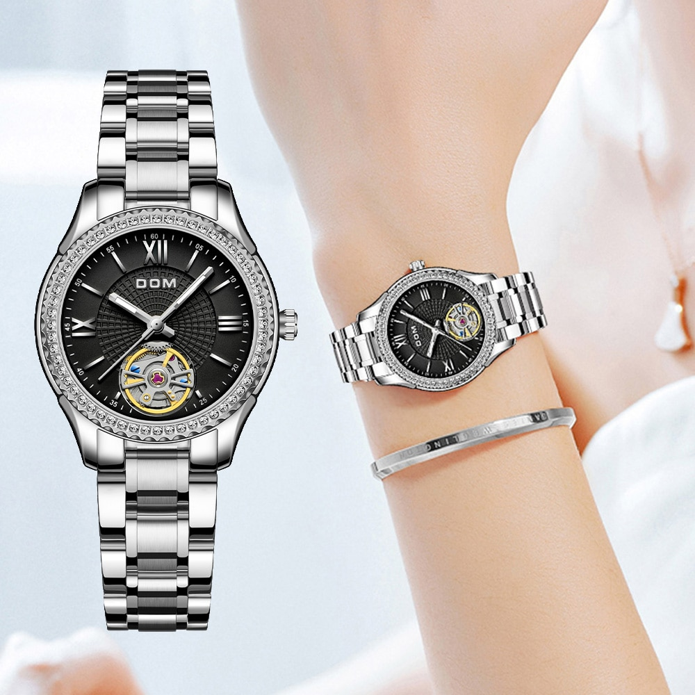 DOM automatic mechanical watch  sports men's watch  business couple watch luminous  stainless steel waterproof female watch
