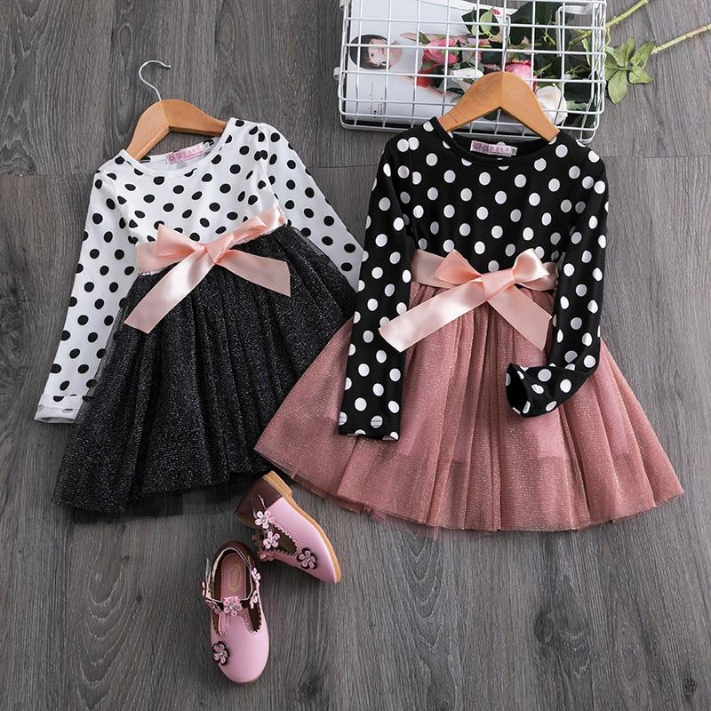 2020 New Kids Bbay Girls Dress Long Sleeve Dot Print Patchwork Dress Tulle Tutu Party Formal With Belt Bowknot Girls Dress 2-7T