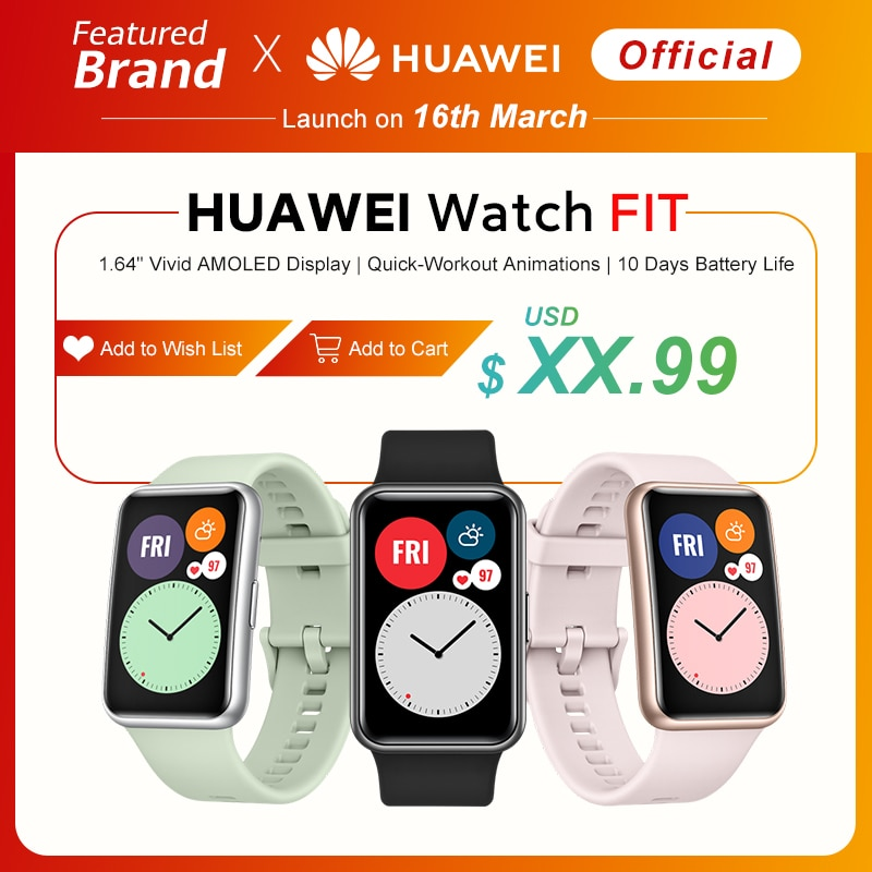 In Stock Global Version HUAWEI Watch FIT SmartWatch Quick-Workout Animations Blood Oxygen Watch FIT