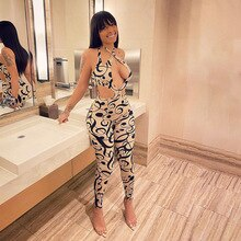 Elegant Women Hollow Out Jumpsuits Digital Print High Waist Low Cut Sexy Femmal Skinny   Clothing Pa