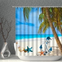 beach shower curtains ocean coconut tree plant sunny starfish sea anchor bathroom curtain natural scenery decoration bath decor