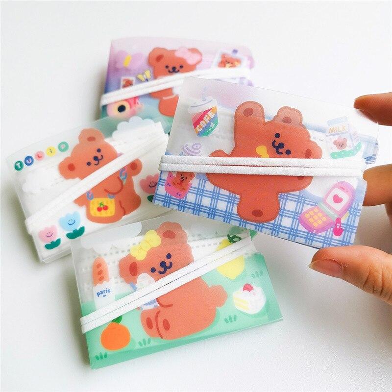 Milkjoy Kawaii Dos Desenhos Animados Máscara de Impressão Máscara de Pasta De Armazenamento de 100 Peças Urso Bonito PVC Impermeável Portátil Caixa Para Meninas