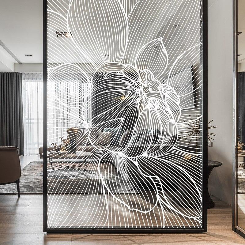 Pegatina de peonía transparente electrostática personalizada para puerta corrediza de oficina, película de vidrio divisoria, película decorativa para ventana para dormitorio
