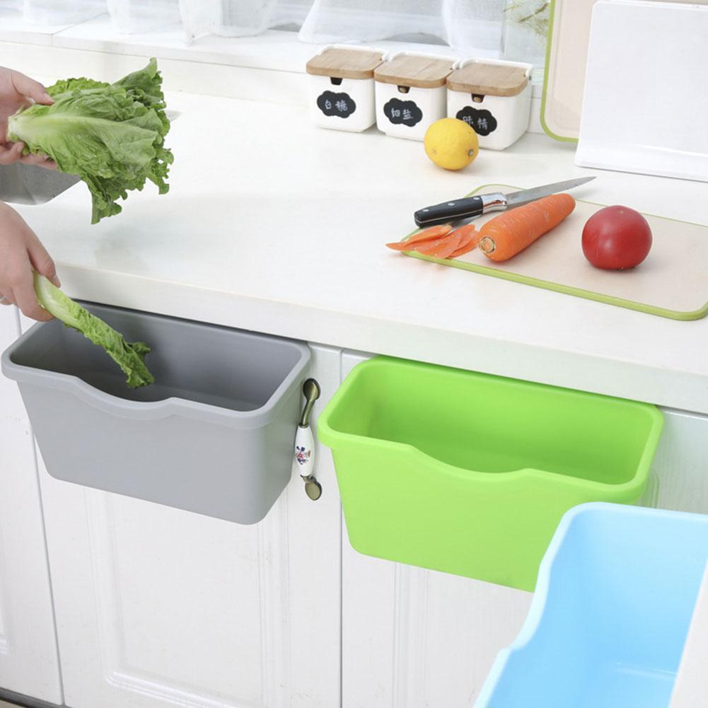 Cesta de plástico pendurado lixo pode lixo lixo lata de lixo caixa de armazenamento de lixo desktop titular da cozinha porta do armário j0h9