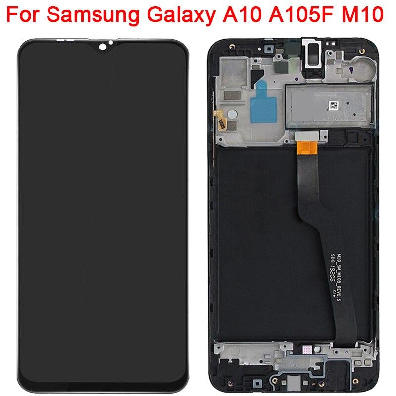 Pantalla LCD A105F/DS Original para Samsung Galaxy A10, M10, A105F, con Marco, SM-A105F de 6,2 pulgadas, montaje de digitalizador con pantalla táctil