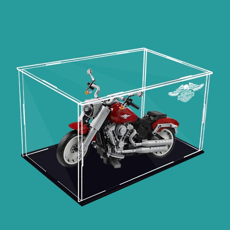 3 مللي متر غطاء غبار صندوق عرض ل ليغو 10269 هارلي دراجة نارية اللبنات سيارة لعبة نموذج عرض حالة (لا تتضمن المحرك)