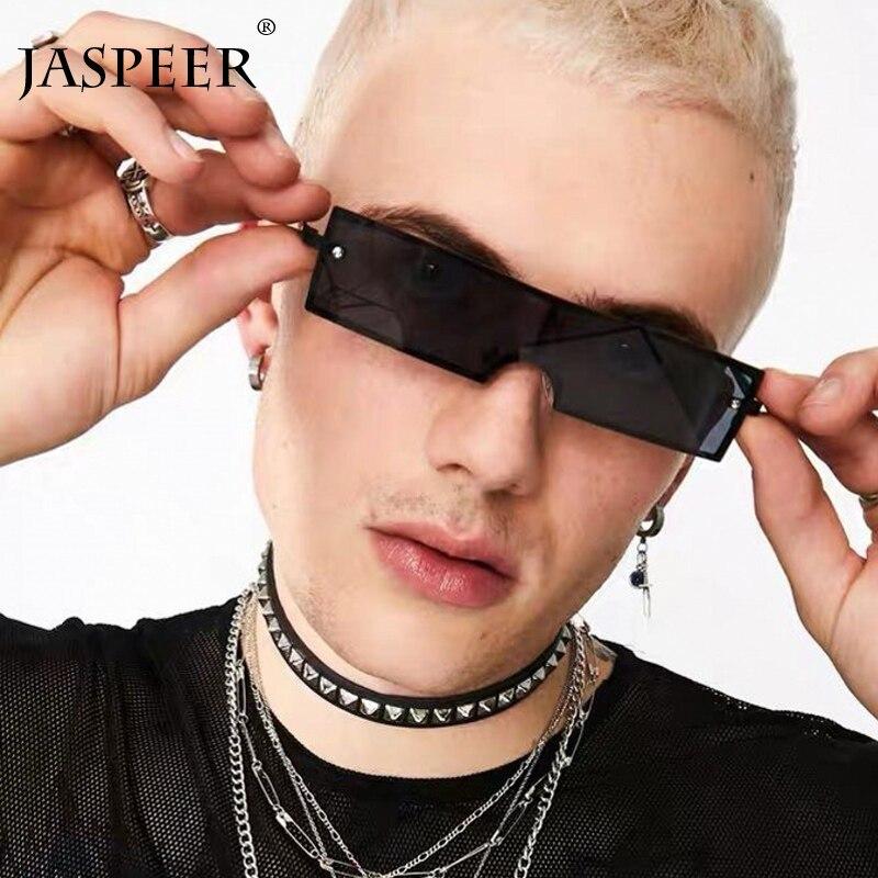 JASPEER gafas de sol hombres mujeres nueva moda pequeño rectángulo gafas de sol sin montura para mujeres negro Vintage Glass
