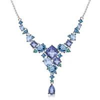 gems ballet 925 sterling silver handmade geometric necklace luxury natural quartz topaz necklace for women wedding fine jewelry