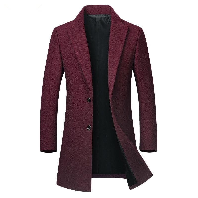 Men's Business Casual Slim Blazer Homme Spring Autumn Wool Blend Formal Jacket Men Long Overcoat Black Gray Burgundy Trench Coat