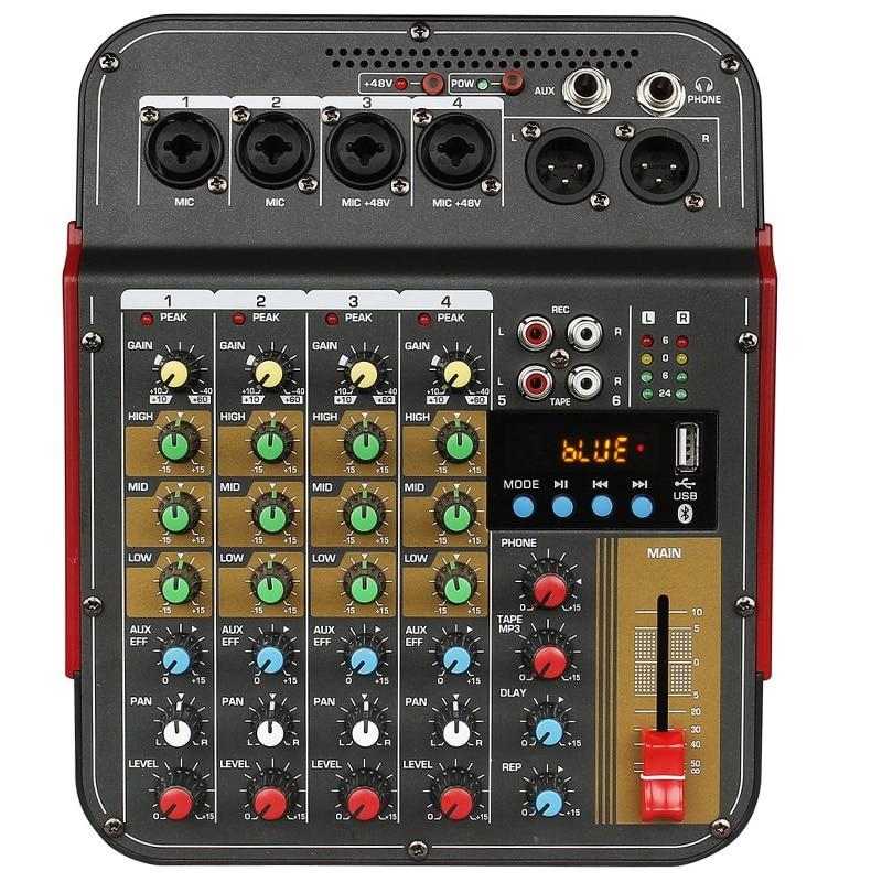 TM4 الرقمية 4-قناة جهاز مزج الصوت خلط وحدة التحكم المدمج في السلطة الوهمية مع نظام الصوت لتسجيل الاستوديو (الاتحاد الأوروبي التوصيل)