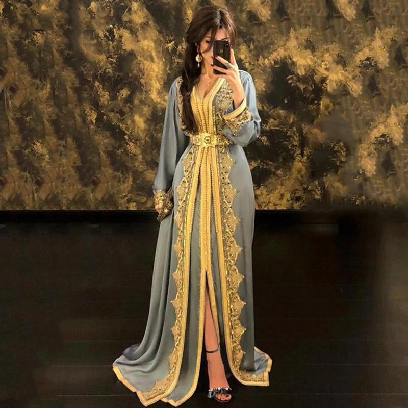 slive sequin formal dresses evening gown elegant long evening dresses evening dress arabic special occasion dresses es2062 Moroccan Kaftan Evening Dresses Lace Appliques Arabic Muslim Special Occasion Dresses Custom Formal Prom Dress платье на выпускн