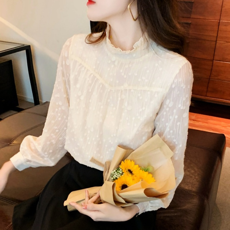 Yg Brand Women's 2021 Spring And Summer New Beige Pullover Top Retro Design Feeling Wood Ear Small S