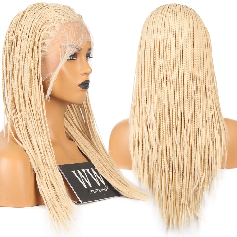Fanxiton Micro Braided Blonde Hair Lace Front Wigs Synthetic With Baby Hair High Temperature Fiber Wigs For Women enlarge