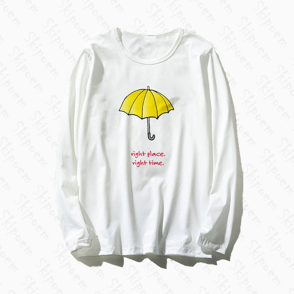 Camiseta de mujer paraguas curativo estilo coreano Harajuku estético Kawaii Vintage gótico algodón manga larga de talla grande ropa de calle