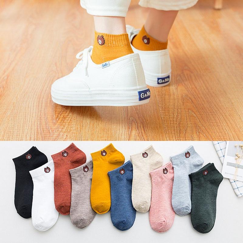 Kingdeng mulheres urso verão engraçado meias harajuku tornozelo bonito estilo coreano meias rosa e menina streetwear estético designer