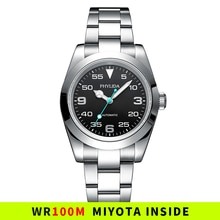 39mm Automatic Mechanical Luxury Pilot Watch Air-King Black Dial 100M Water Resistant