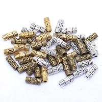 50pcs 8x3mm antique silver gold tone column tube spacer metal beads for needleworks for diy bracelets jewelry making finding