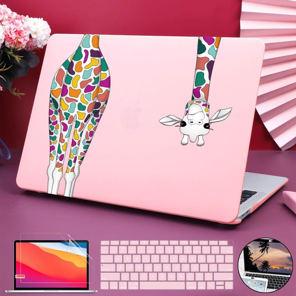 حافظة بلاستيكية ملونة لجهاز MacBook Air Pro Retina ، واقي شاشة لوحة المفاتيح وغطاء كاميرا الويب ، زرافة ، 11 12 13 15 16 A2179 A2337