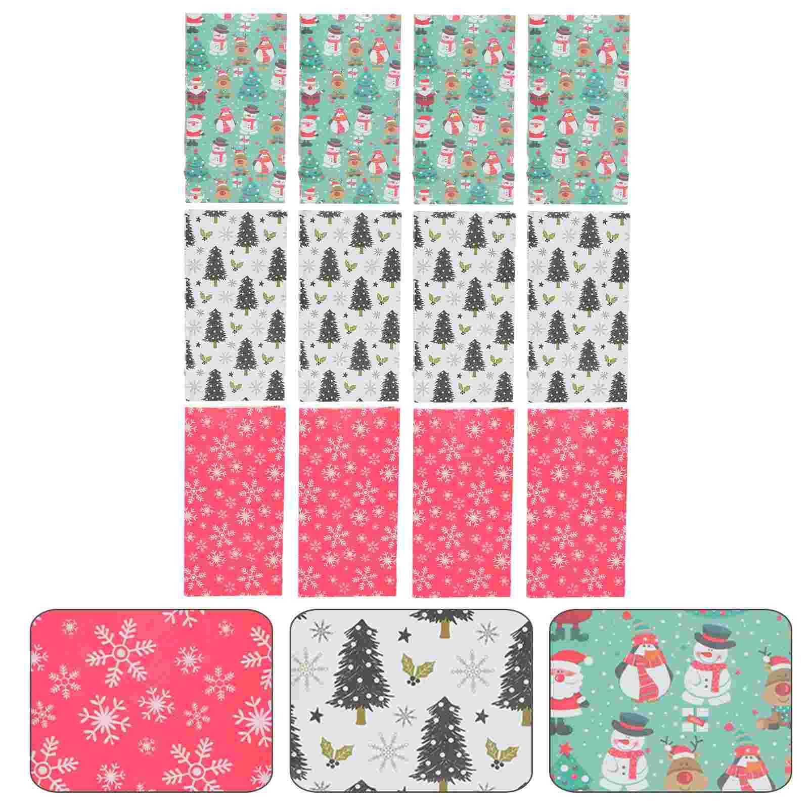 12Pcs Christmas Treat Bags Paper Bags Holiday Cookie Bags Party Supplies