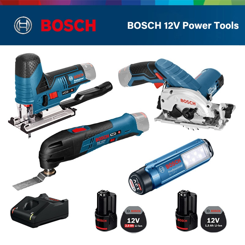 Bosch Мощность инструмент Перезаряжаемые ручная дрель Многофункциональный Ударная дрель бытовой электрический шуруповерт 12V Комбинации набор
