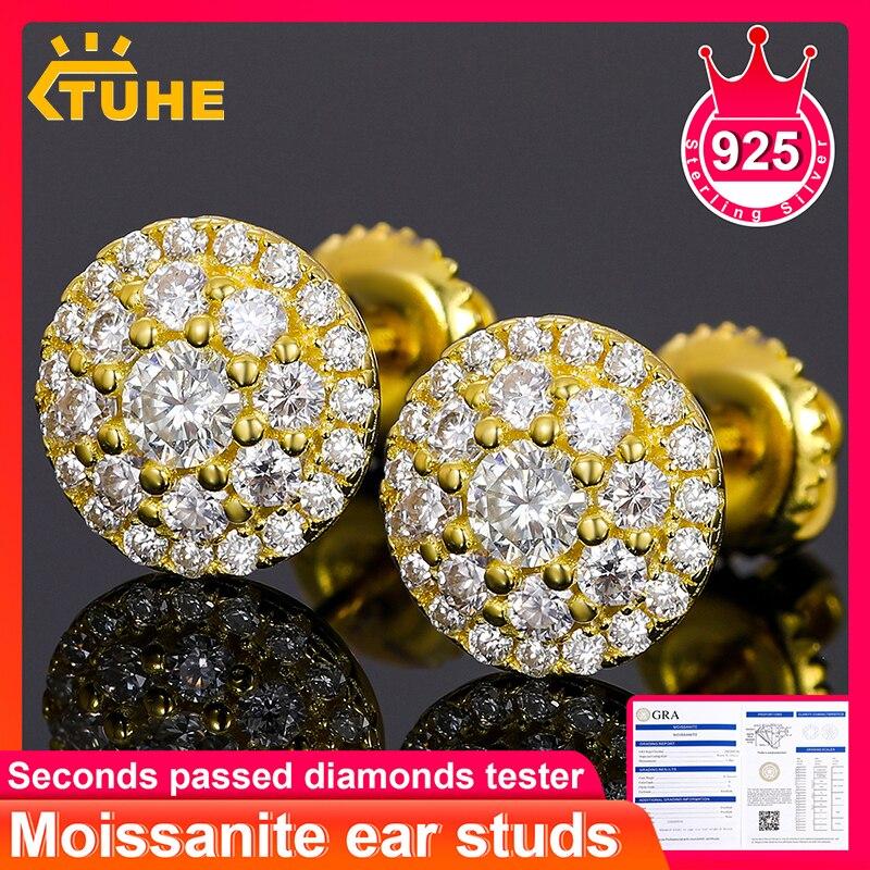 أقراط عالية الجودة من الفضة الإسترليني 100% عيار 925 مويسانيتي للنساء والرجال مجوهرات الهيب هوب أقراط رائعة مع إسقاط الشحن