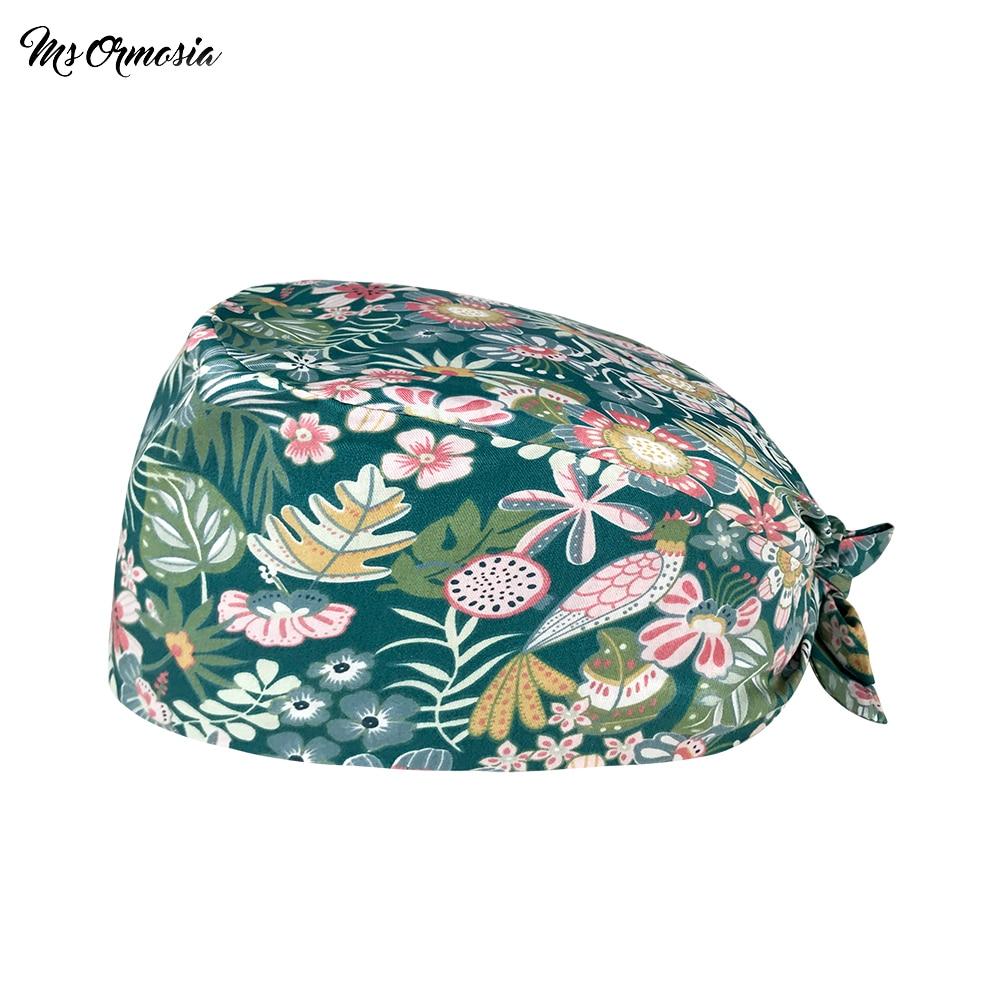 Summer essential Breathable print Peacock in flower work Scrub cap Pet store beauty salon work Dust-
