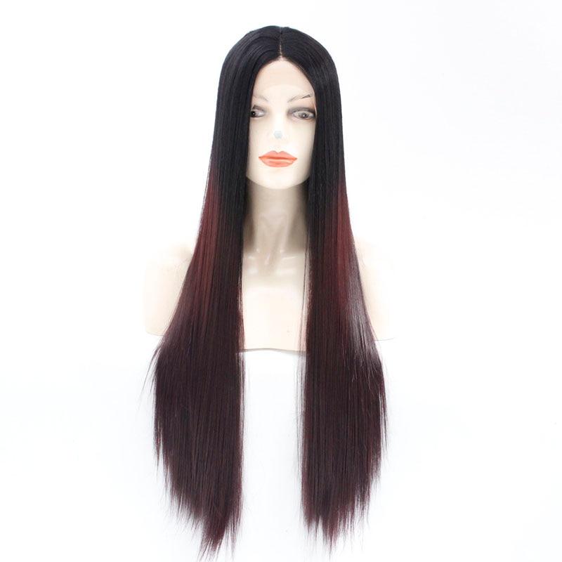 Peluca sintética Ombre Borgoña para mujer 99j pelucas largas de pelo liso con raíces negras pelucas rojas de vino oscuro peluca frontal de encaje