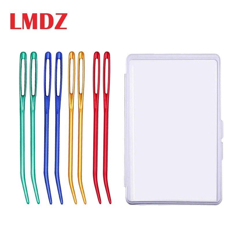 LMDZ, 2 uds., tapices de punta doblada de aluminio, zurcir para agujas de tejer, manualidades de costura, aguja doblada, aguja de tejer de ojo grande